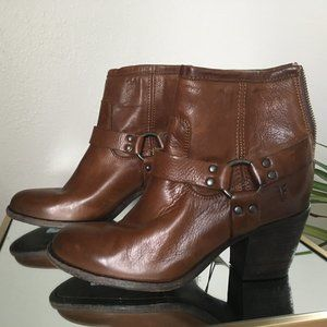 Frye Cognac Ankle Boot With Harness And Back Zip